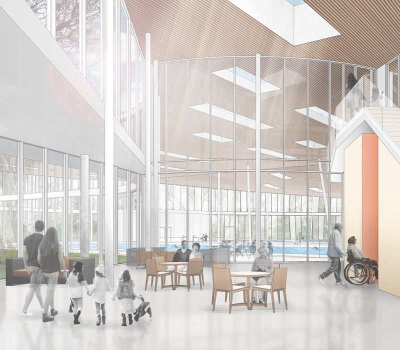Artists view of the new facility lobby